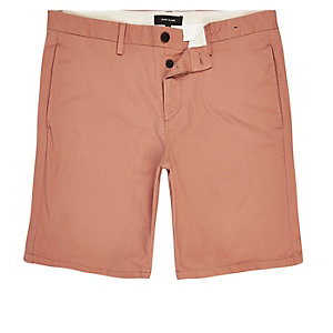Korallenrote Slim Fit Chinoshorts