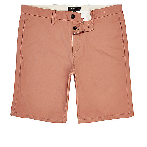 Coral slim fit chino shorts