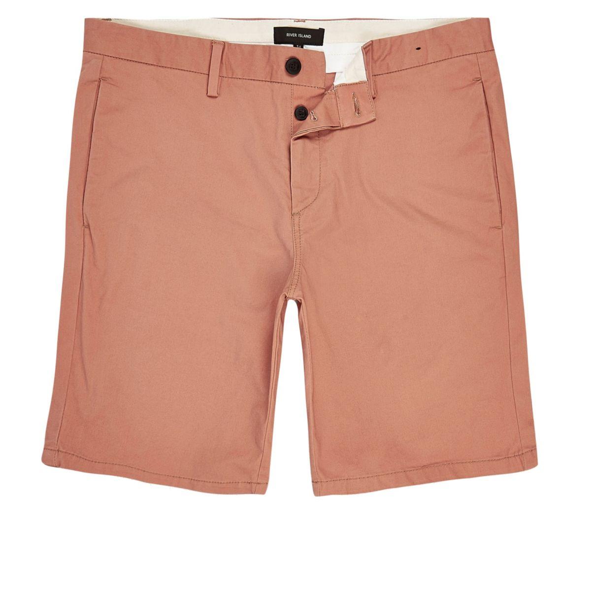 Coral slim fit chino shorts