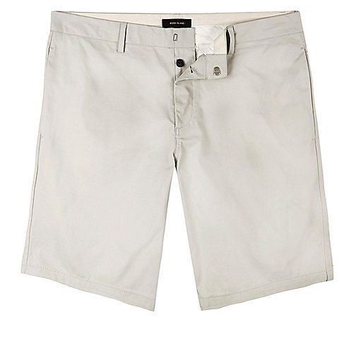 Grey skinny fit chino shorts