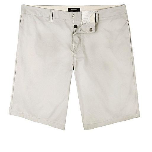 Grey skinny fit chino shorts