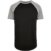 Black muscle fit raglan T-shirt
