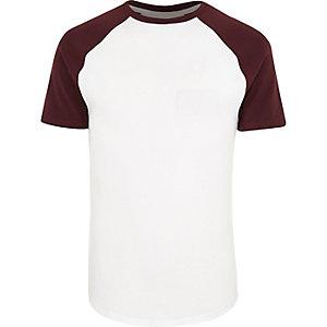White muscle fit raglan T-shirt