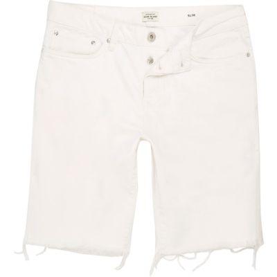 River Island Short en jean slim blanc à bords effilochés