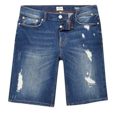 Blue wash distressed slim-fit denim short