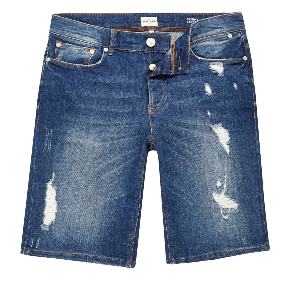 Blue wash distressed slim fit denim shorts