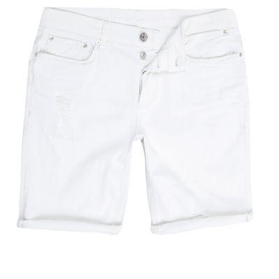 Witte distressed skinny-fit denim short