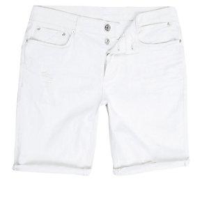 White distressed skinny fit denim shorts