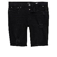 Black distressed skinny fit denim shorts