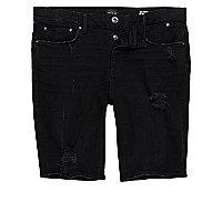 Schwarze Skinny Fit Jeansshorts im Used Look