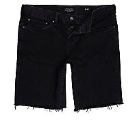Black slim fit frayed denim shorts