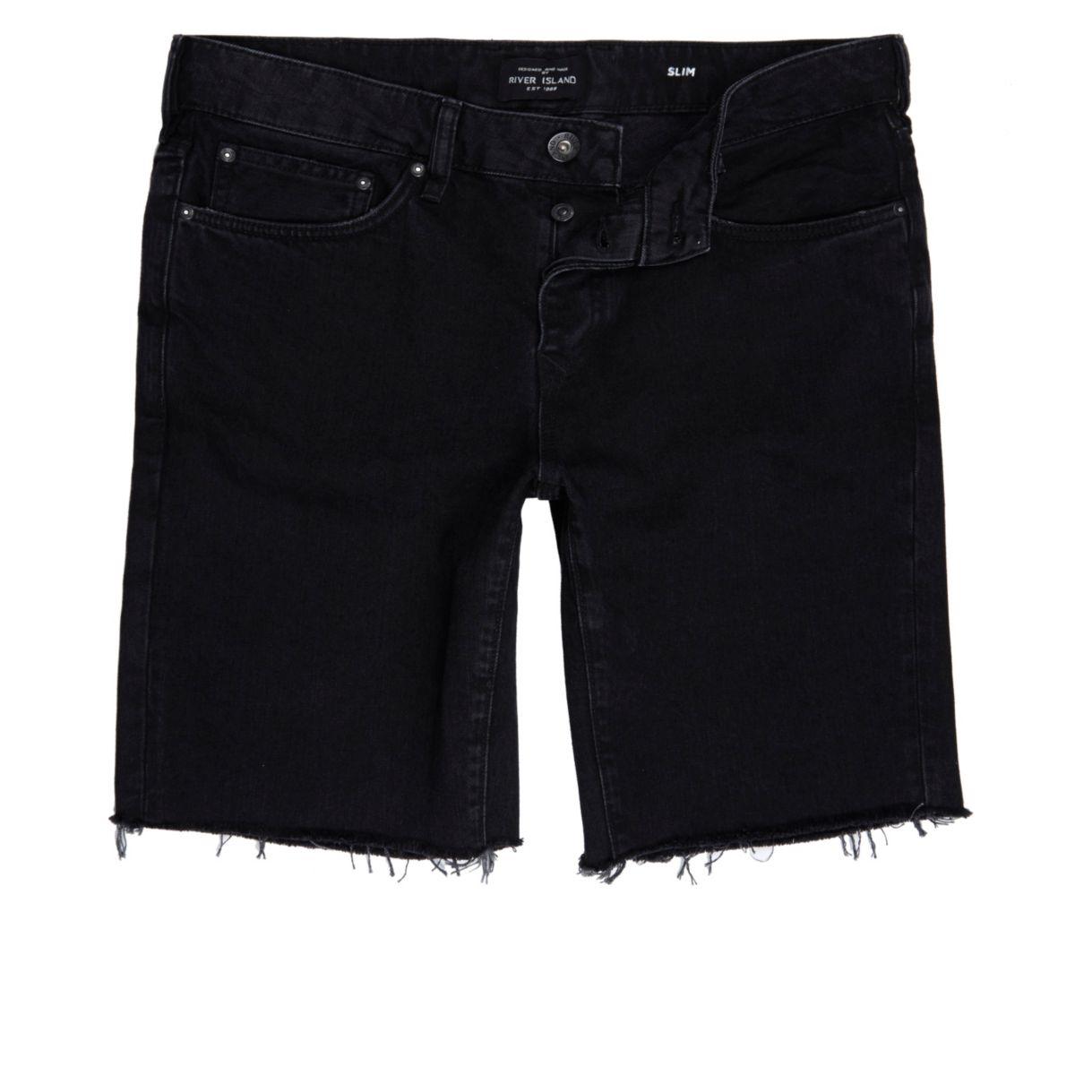 Schwarze, ausgefranste Slim-Fit-Jeansshorts im Used-Look