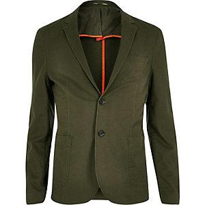 Khaki washed cotton skinny blazer