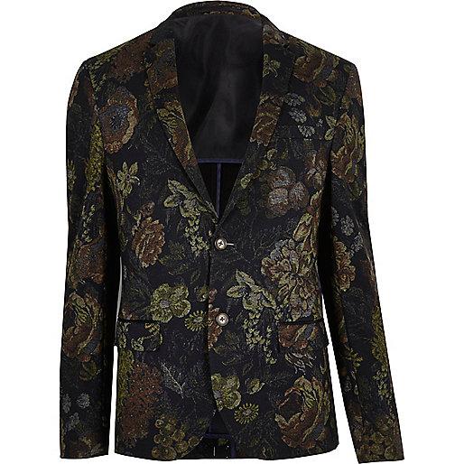 Grey print skinny fit blazer