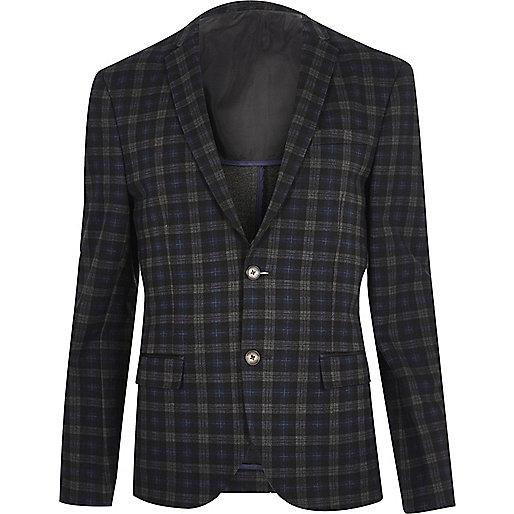Blue checked skinny cropped blazer