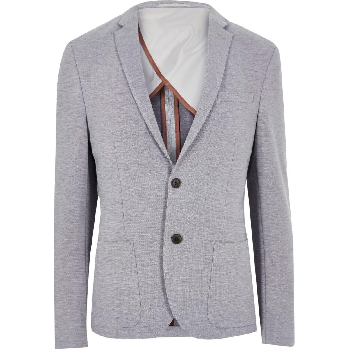 Grey ponte skinny blazer