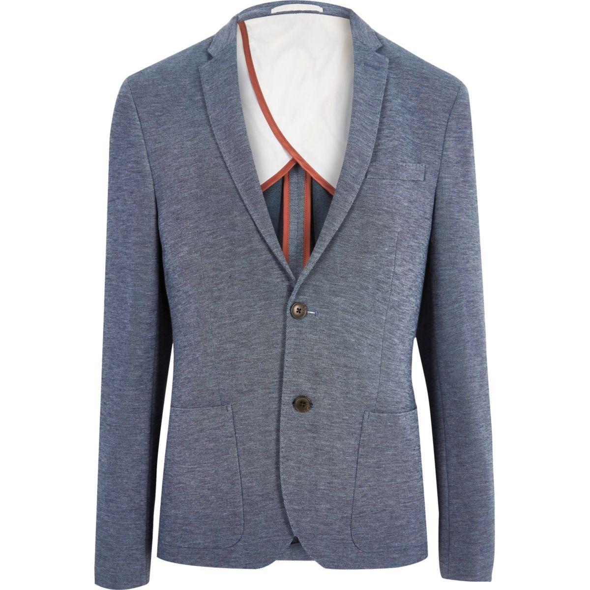 Navy ponte skinny blazer