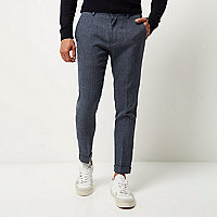 Blue textured skinny cropped pants