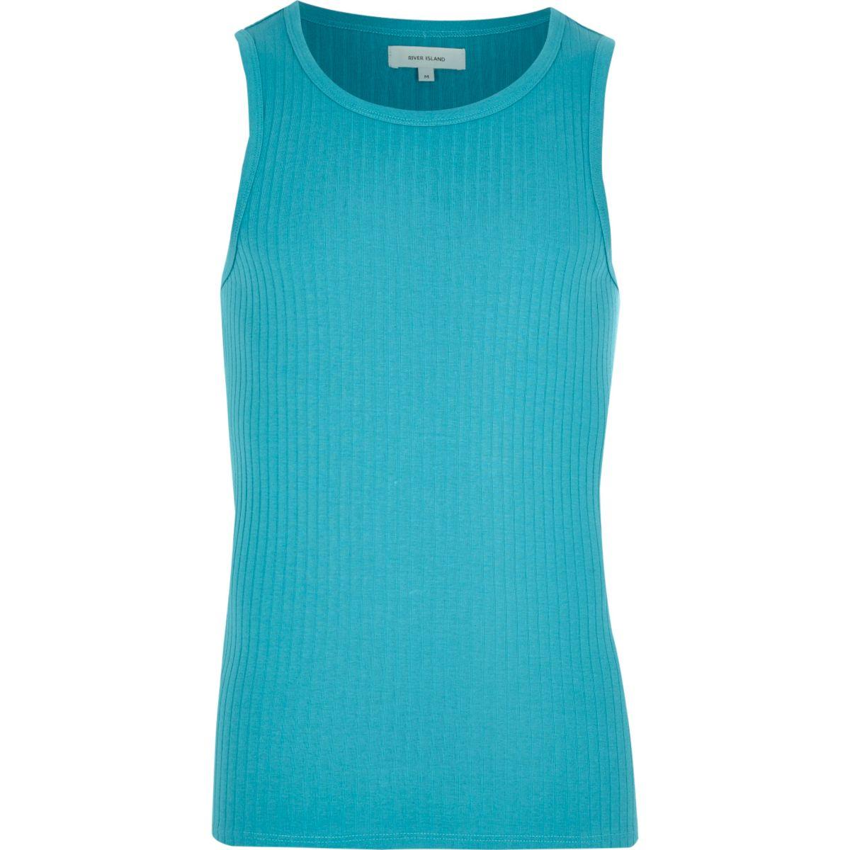 Blauw geribbeld hemdje