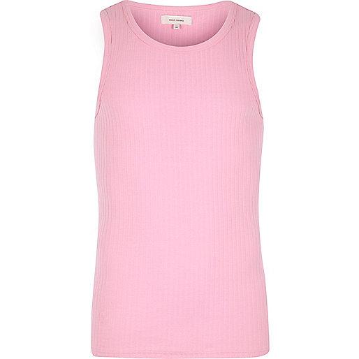 Pink ribbed vest