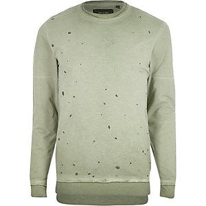 Only & Sons – Grünes Sweatshirt im Used-Look