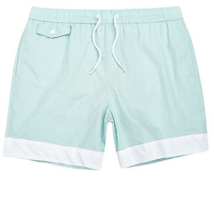 Light blue stripe panel swim trunks