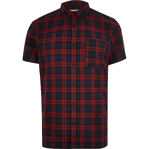 Red check flannel short sleeve shirt
