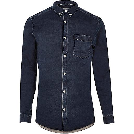 Indigo wash casual skinny fit denim shirt
