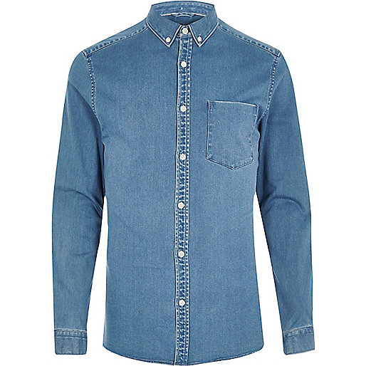 Blue wash casual skinny fit denim shirt
