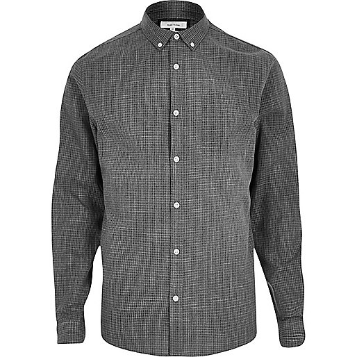 Grey print casual textured shirt