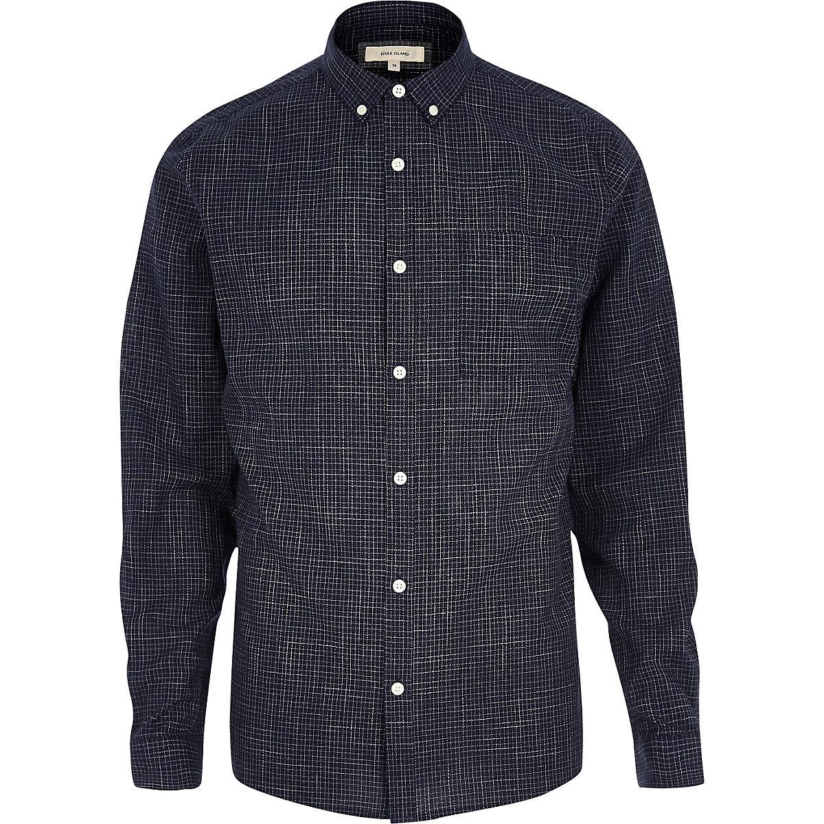 Navy print casual textured shirt