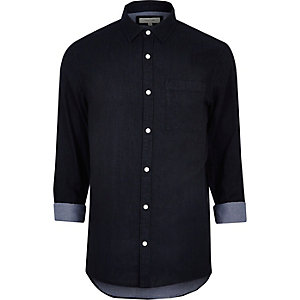 Navy double faced casual shirt
