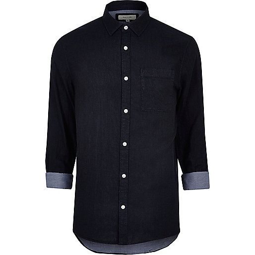 Navy double faced casual shirt