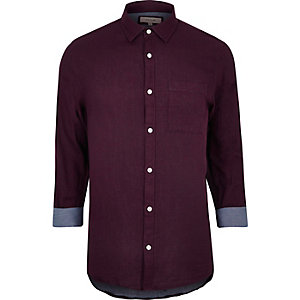 Burgundy double faced casual shirt