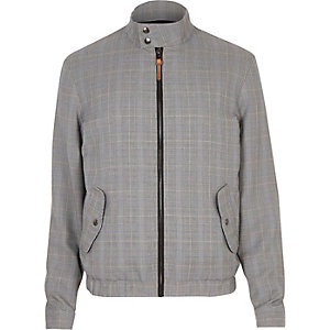 Grey checked funnel neck harrington jacket