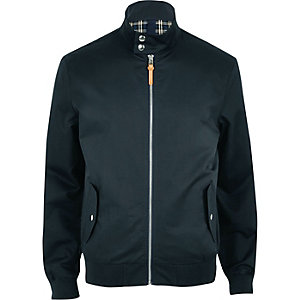 Marineblaue Harrington-Jacke mit Tunnelkragen