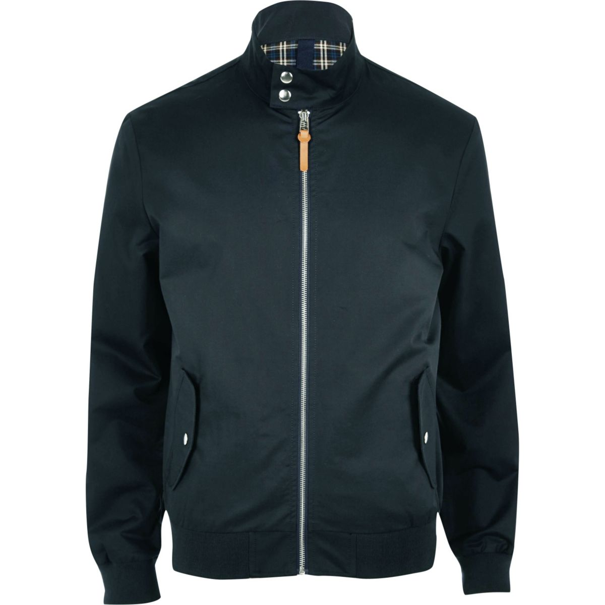 Navy funnel neck harrington jacket