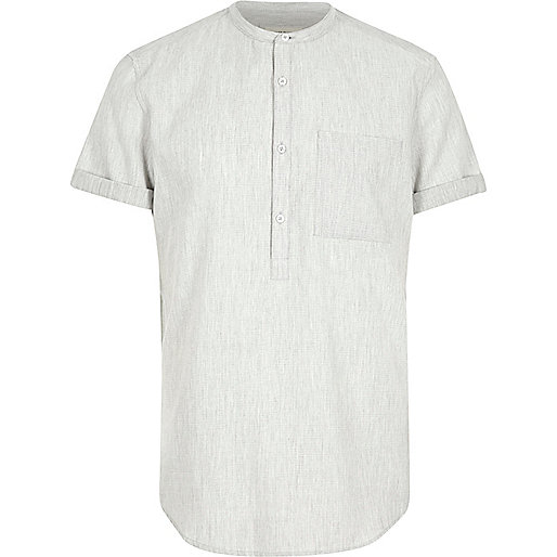 Grey grandad collar shirt