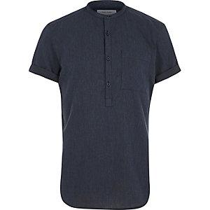 Navy grandad collar shirt