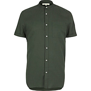 Green casual short sleeve grandad shirt