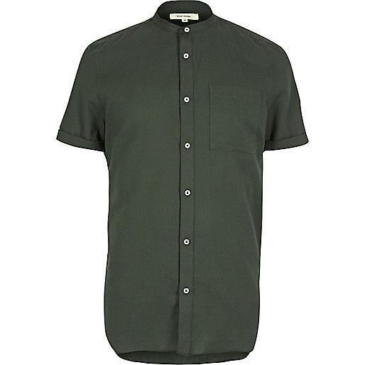 Grünes, kurzärmliges Grandad-Hemd