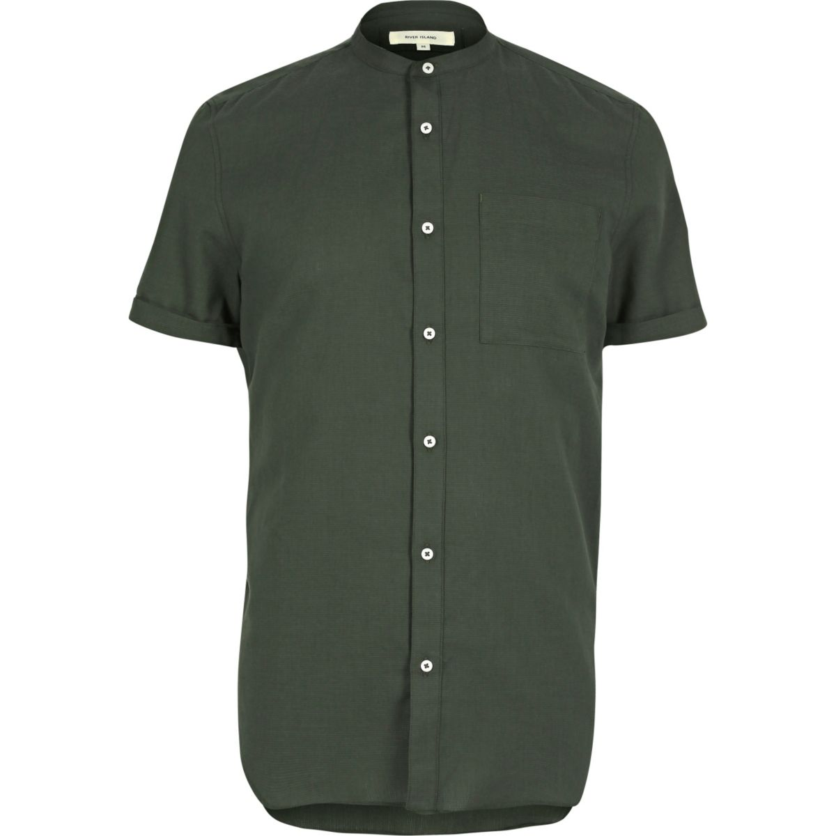 Green casual short sleeve grandad shirt