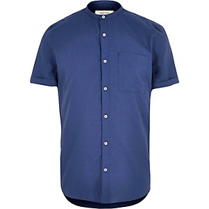 Dunkelblaues, kurzärmliges Grandad-Hemd