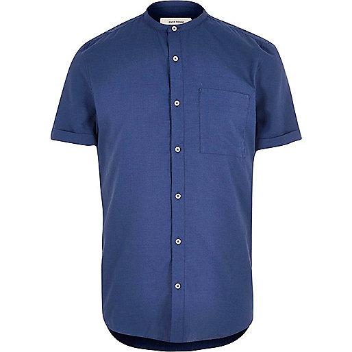Dark blue short sleeve grandad shirt
