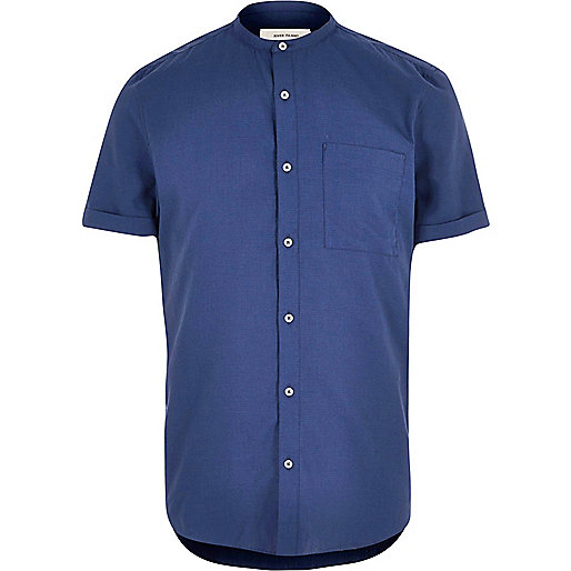 Dark blue short sleeve grandad shirt shirts sale men for Short sleeve grandad shirt