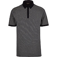 Navy jacquard polo shirt