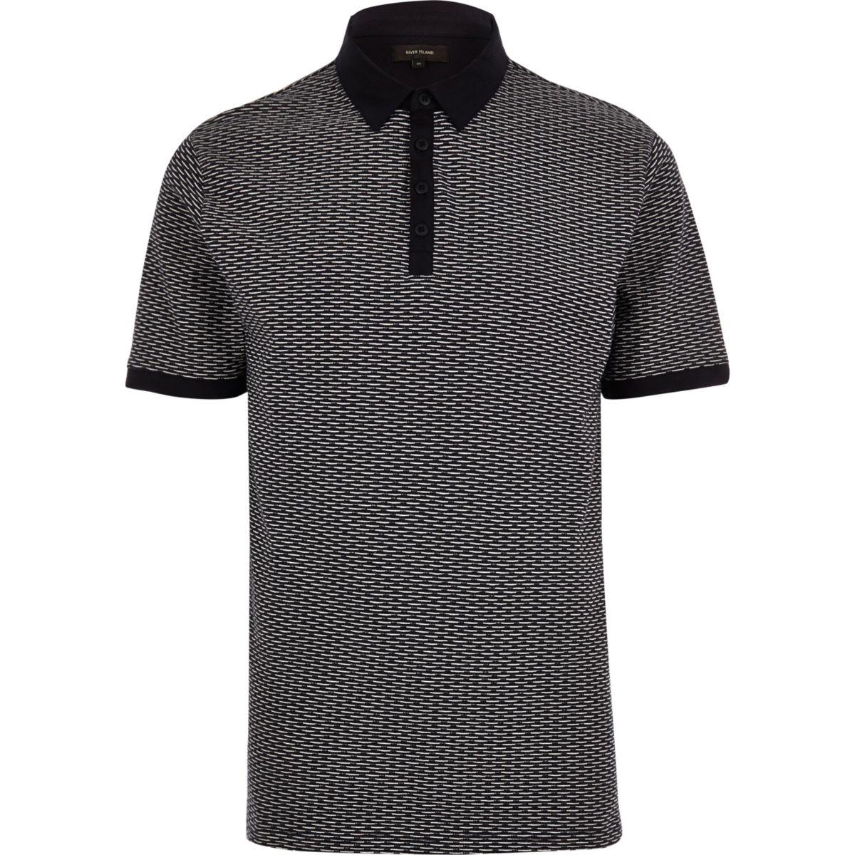 Navy jacquard polo shirt