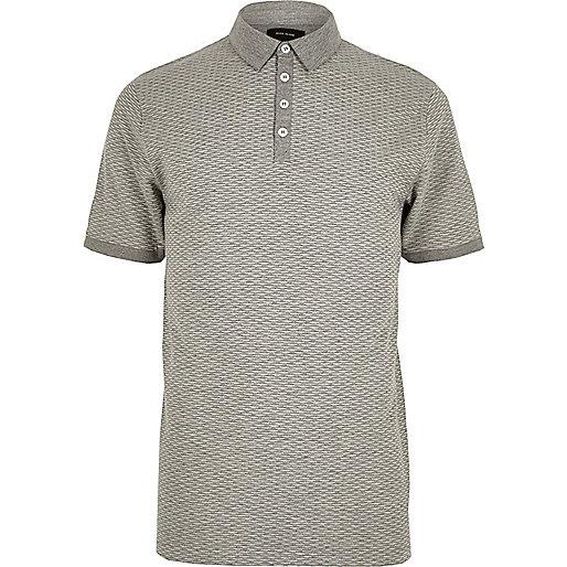 Grey jacquard slim fit polo shirt