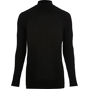 Black ribbed knit roll neck jumper