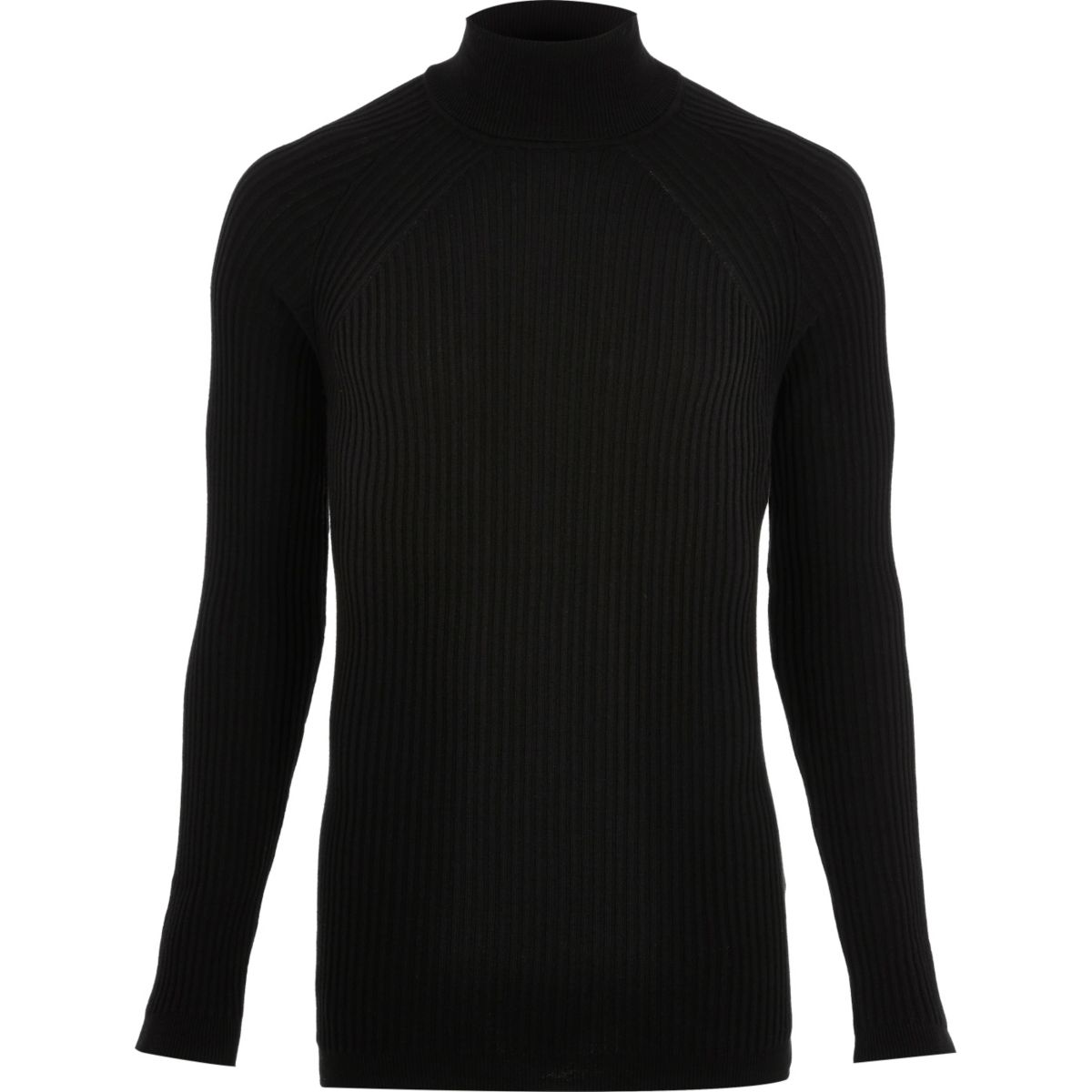 Black ribbed knit roll neck sweater